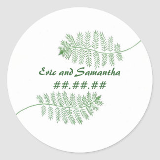 Green Ferns, Save the date Wedding stickers