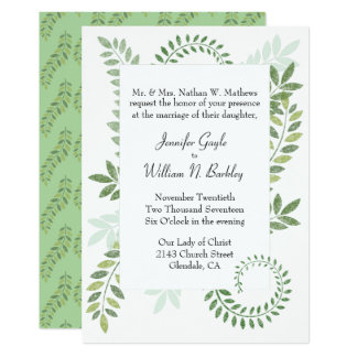 Green Ferns Wedding Invitation