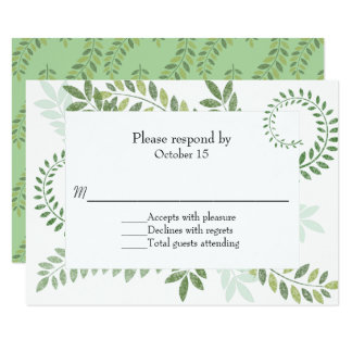 Green Ferns Wedding RSVP Card