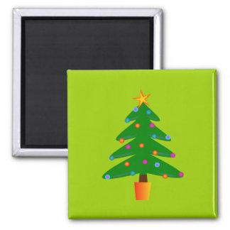 Green Festive Christmas Tree Refrigerator Magnet