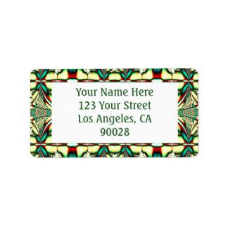 green festive pattern address label