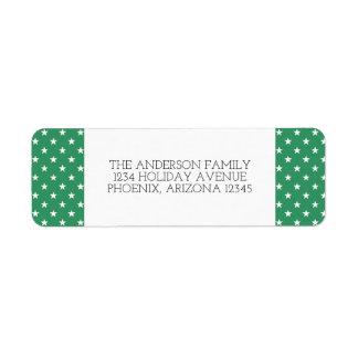 Green Festive Stars Holiday Address Labels