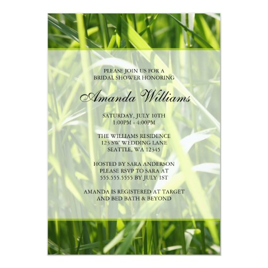 Green Field Grass Outdoor Bridal Shower Card