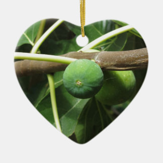Green figs ripening on a fig tree ceramic heart decoration