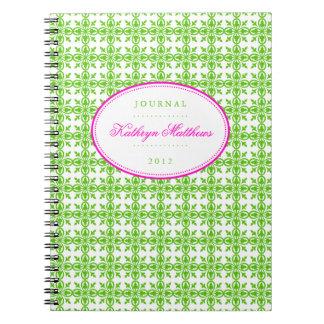 Green filigree pattern hot pink oval journal