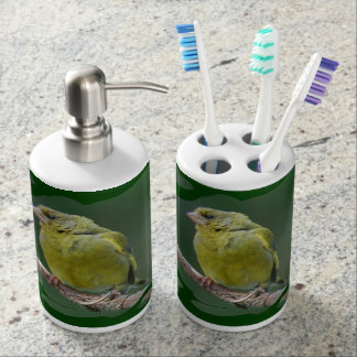 Green Finch - green finch - Verdier photo JL Soap Dispenser And Toothbrush Holder