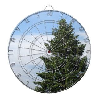 Green fir tree against a clear sky dartboard