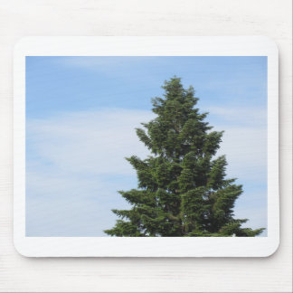 Green fir tree against a clear sky mouse pad