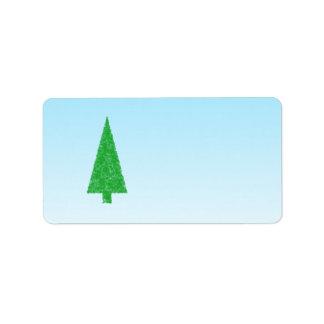 Green Fir Tree. On Blue - White. Christmas. Address Label