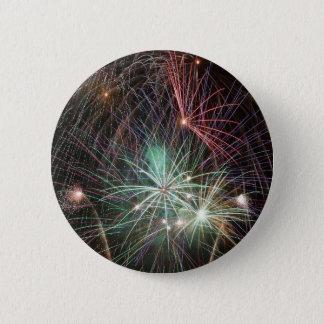 Green Fireworks 6 Cm Round Badge