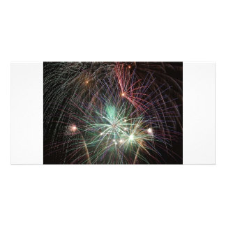 green-fireworks-at-night custom photo card