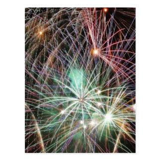 Green Fireworks At Night Postcard
