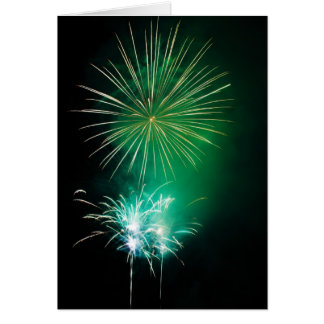 Green Fireworks Cards