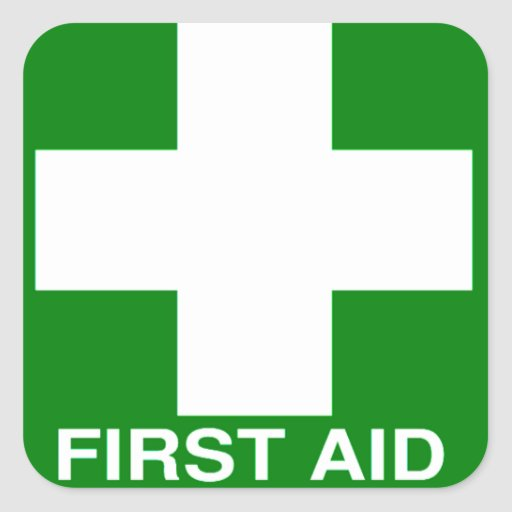 Green First Aid Sign Square Stickers