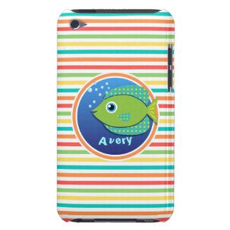 Green Fish Bright Rainbow Stripes iPod Case-Mate Case