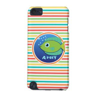 Green Fish Bright Rainbow Stripes iPod Touch (5th Generation) Covers