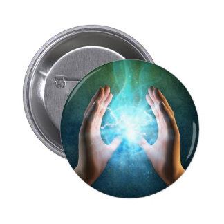 Green flame powerful healing hands pins