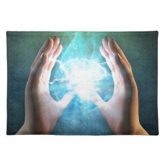 Green flame  powerful healing hands place mat