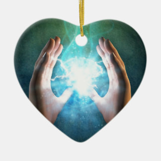 Green flame  powerful healing hands Double-Sided heart ceramic christmas ornament