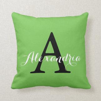 Green Flash Bright Vivid Solid Color Monogram Throw Pillow
