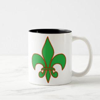 Green Fleur de Lis Two-Tone Coffee Mug
