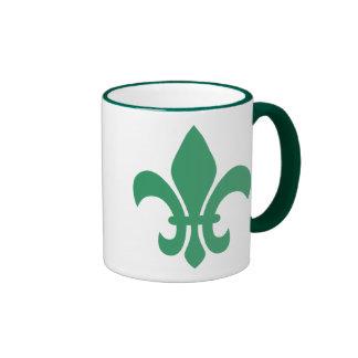 Green Fleur de Lis Ringer Mug