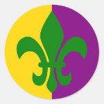 Green Fleur de Lis Round Stickers