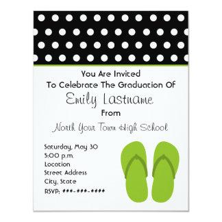 Green Flip Flops / Polka Dots Graduation Card