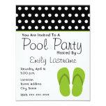 Green Flip Flops / Polka Dots Pool Party 11 Cm X 14 Cm Invitation Card