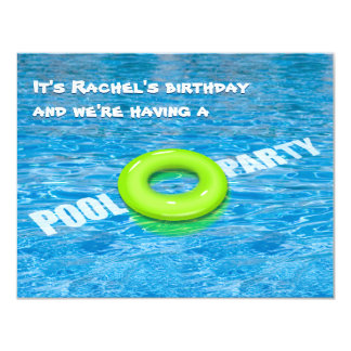 Green Floatie Pool Party Card