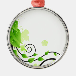 green floral abstract Silver-Colored round decoration