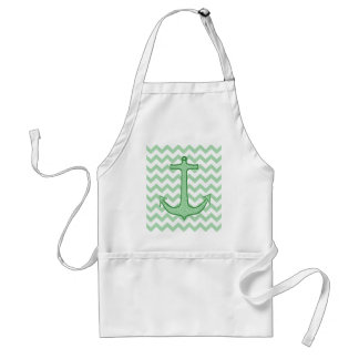 Green Floral Anchor on Chevron Standard Apron