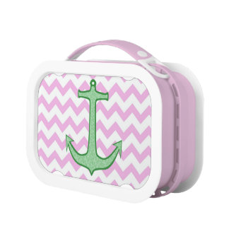 Green Floral Anchor on Pink Chevron Lunch Boxes