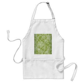 green floral standard apron