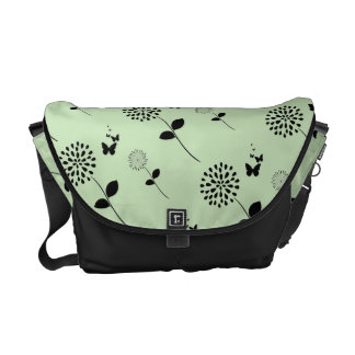 Green Floral Butterfly Graphic Art Messenger Bag