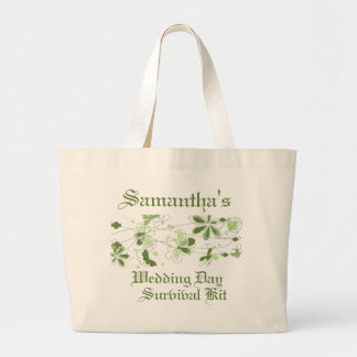 Green Floral Butterfly Wedding Day Survival Kit Canvas Bags