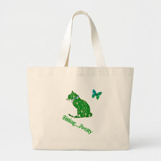 Green Floral Cat Jumbo Beach or Shopping Tote