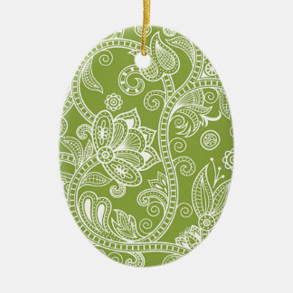green floral ceramic oval decoration