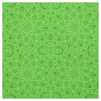 Green Floral Circle Star Pattern Cotton Linen Fabric