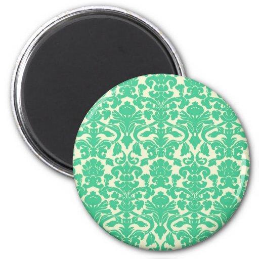 Green Floral Damask Magnet