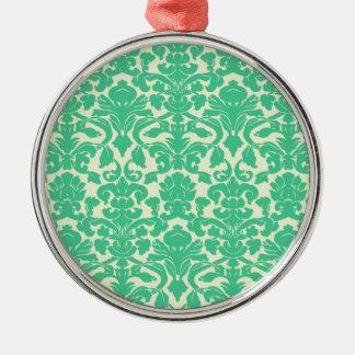 Green Floral Damask Ornament