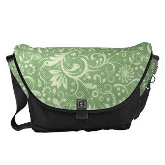 Green Floral Damask Pattern Messenger Bag
