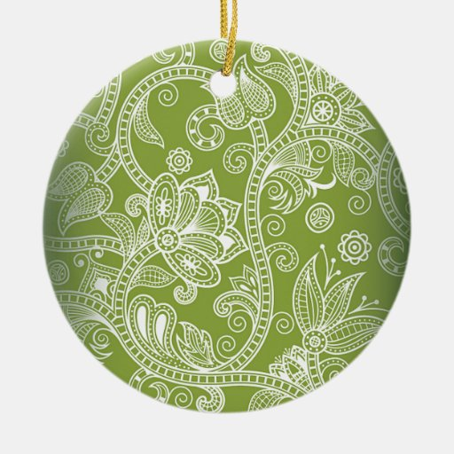 green floral christmas tree ornaments