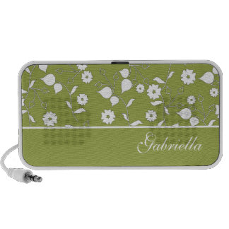 Green Floral Doodle Custom Speakers Personalized