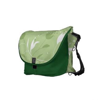 Green floral flower pattern design messenger bag