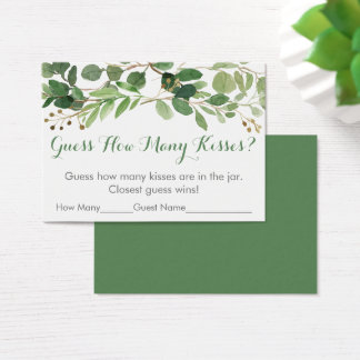 Green Floral Guess How Many Bridal Shower Game Business Card