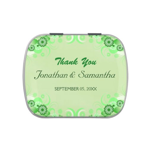 Green Floral Hibiscus Wedding Favor Candy Tins Candy Tins