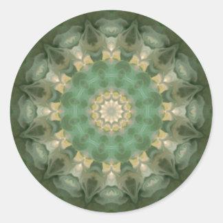 Green Floral Medallion Kaleidoscope Round Sticker