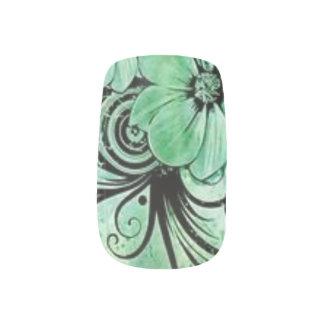 Green Floral Minx Nail Art