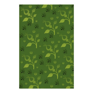 Green floral mix personalized stationery